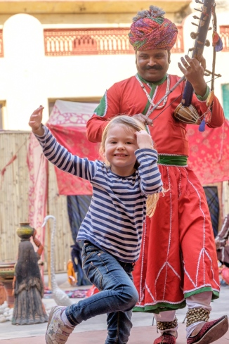 Caroline dancing in India
