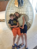 James and Fiona enjoying the hanging chair