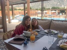 Fiona and Caroline at breakfast