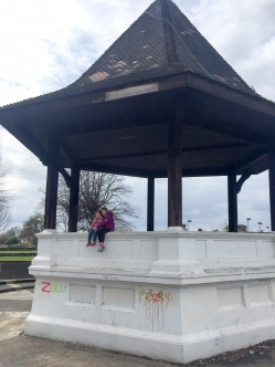 Fiona and Caroline on a bandstand