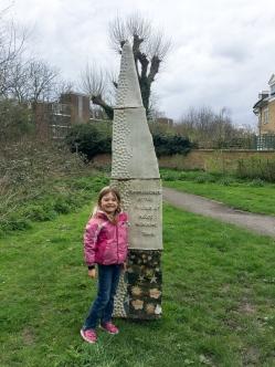 Caroline and the statue