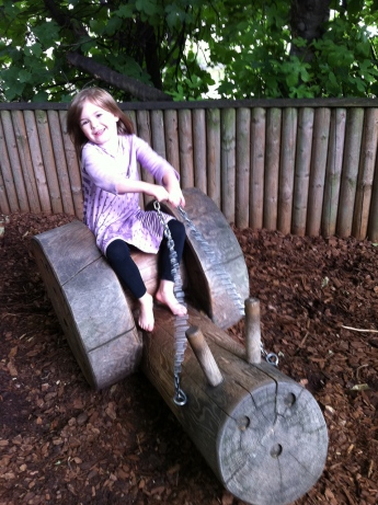 Fiona on the snail at St James's Park